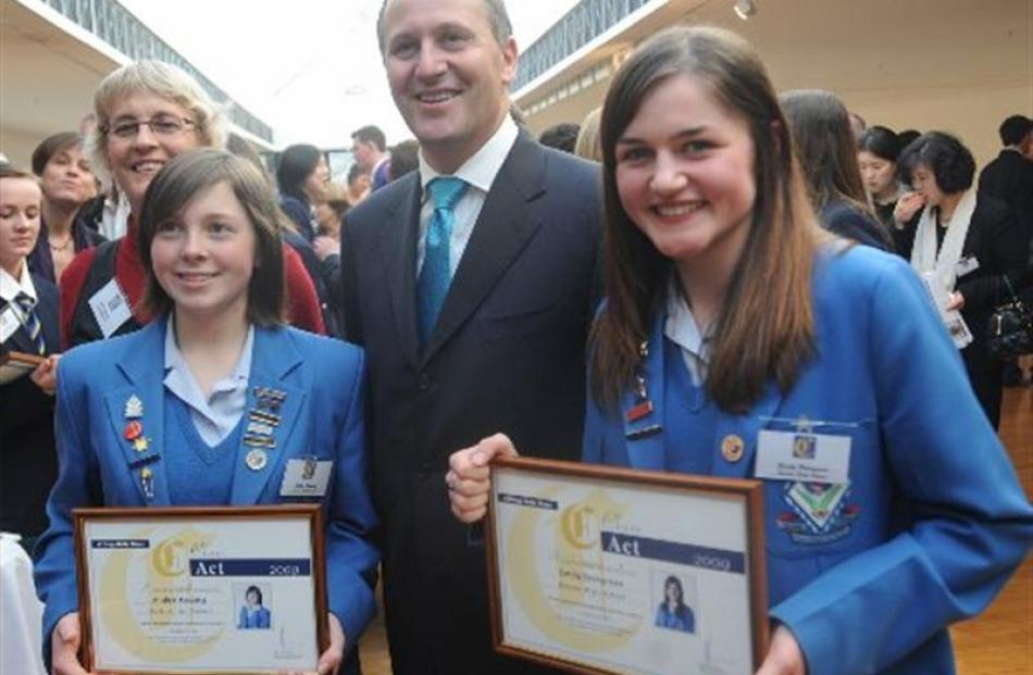 Queens High School pupils Amber Hosking , left and Emily Berryman on the right is photographed...