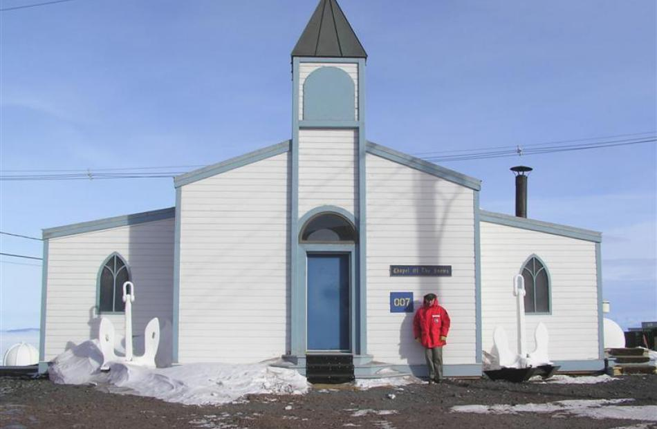 Queenstown priest Fr Tony Harrison takes in the commanding view looking out over McMurdo Sound to...