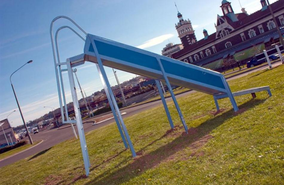 Another example of Dunedin's mystery street art, the Thomas Burns St roundabout slide. Photo by...