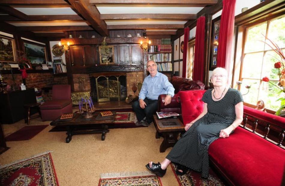 Macrocarpa beams give Gordon and Sandra Sasse's sitting room a warm, rugged atmosphere.