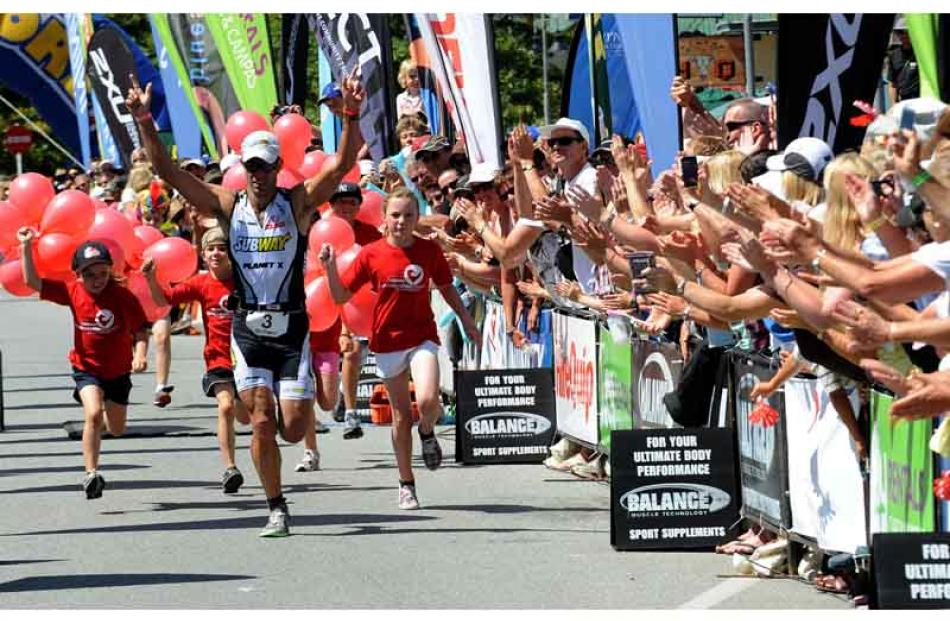 Wanaka Challenge winner Richard Ushher from Nelsons runs down the finish shoot in a record time....