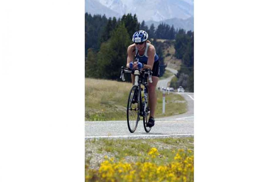 Challenge Wanaka individual Phillippa Findlay from Wanaka during the 180km cycle leg. Photo by...