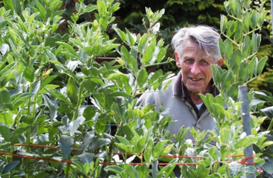 Kieran Hurring (75) works in his Mornington garden.