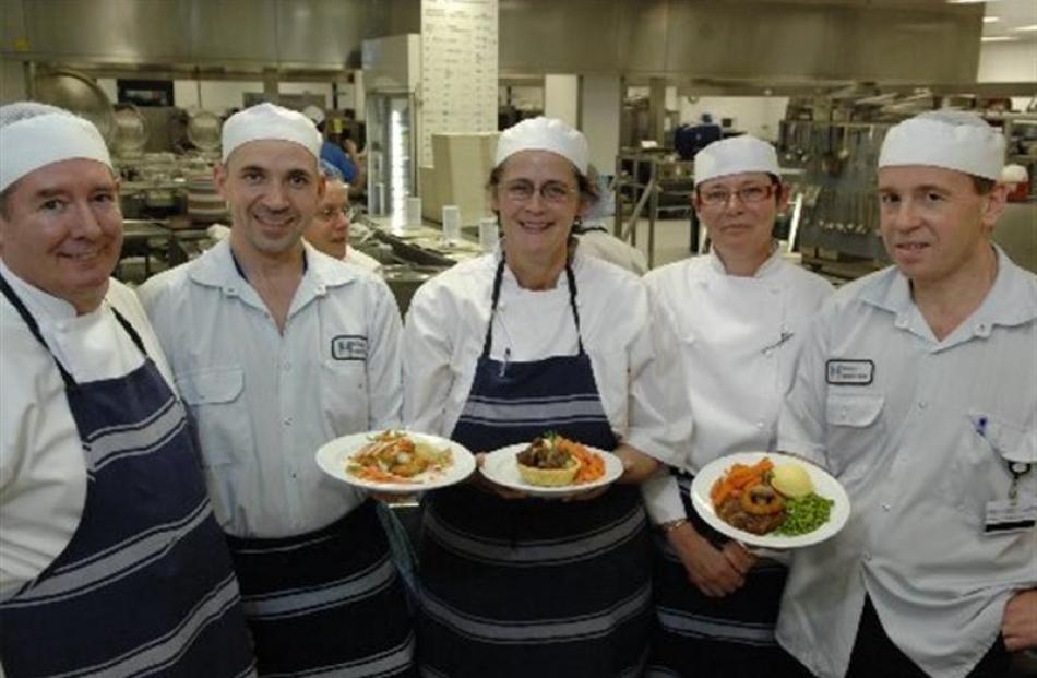 Dunedin Hospital cooks (from left), Rex Jolly, Shane Keen, Marilyn Smith, executive chef Sarah...