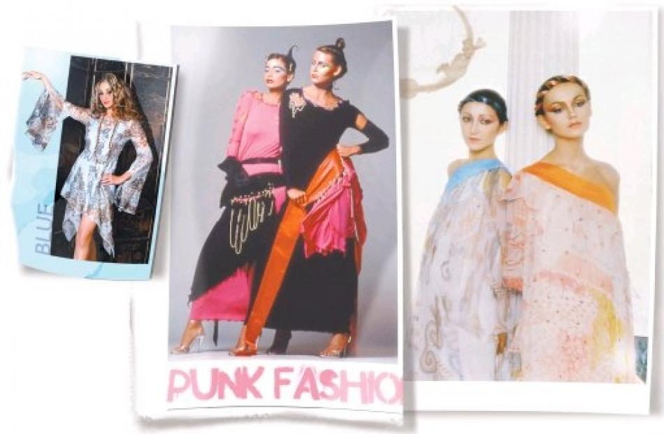 """Punk jersey dresses (left) from the Zandra Rhodes """"Conceptual Chic"""" collection of 1977. Photo by..."""