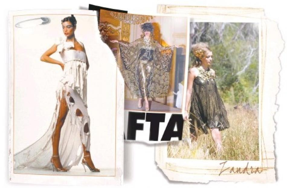 Zandra Rhodes collection dresses, including (left) a punk wedding dress from 1977 and (centre) a...