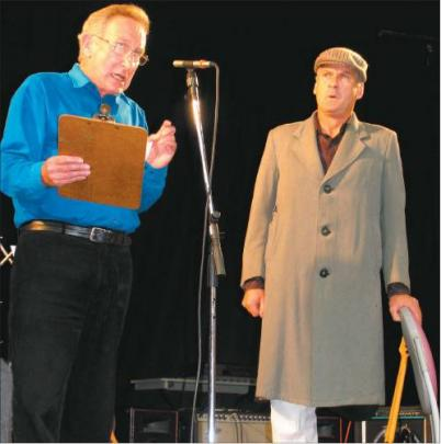 Homage to drama: With a short sketch about a one-legged actor, James Wright (left) and Lloyd...