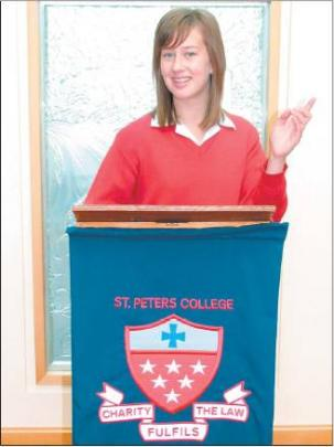 Perfect elocution: Alice Wilkins (14) practising one of her many talents — public speaking.