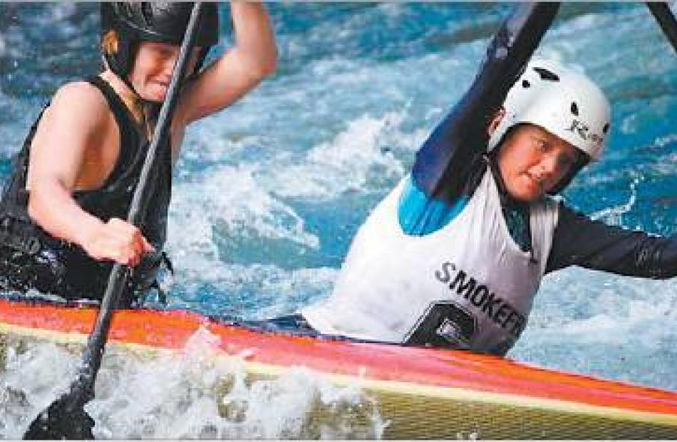 Top duo: Finn Butcher (left) and Marcus Norbury on their way to a gold in the C2. Picture: Supplied