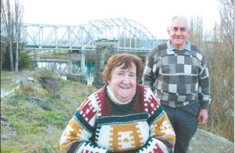 Day to remember: Shirley and Ian Aitchison this week in front of the Alexandra Bridge, which...