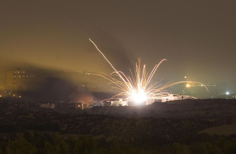 An Israeli rocket is fired into the northern Gaza Strip. Photo by Reuters