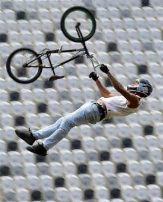 BMX rider Jed Mildon practises  at Forsyth Barr Stadium yesterday. Photo by Peter McIntosh.