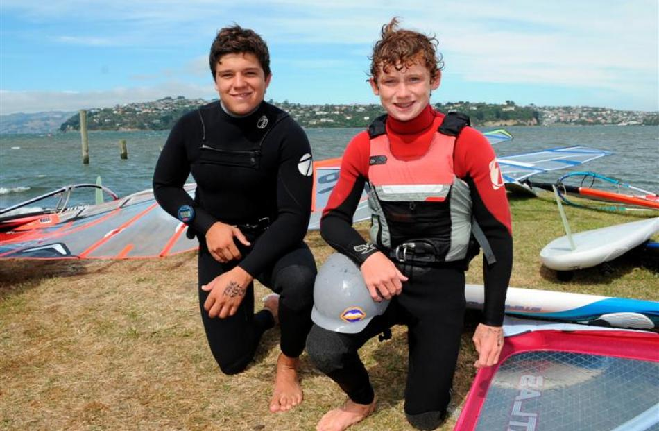 Brothers Tom (left) and Joe McGregor, of Christchurch, at the New Zealand windsurfing...