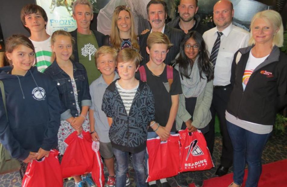 (From left) Lexi Rosemoore (12), Sam Moore (12), Ruby Crossan (12), actor Jed Brophy, Benji...