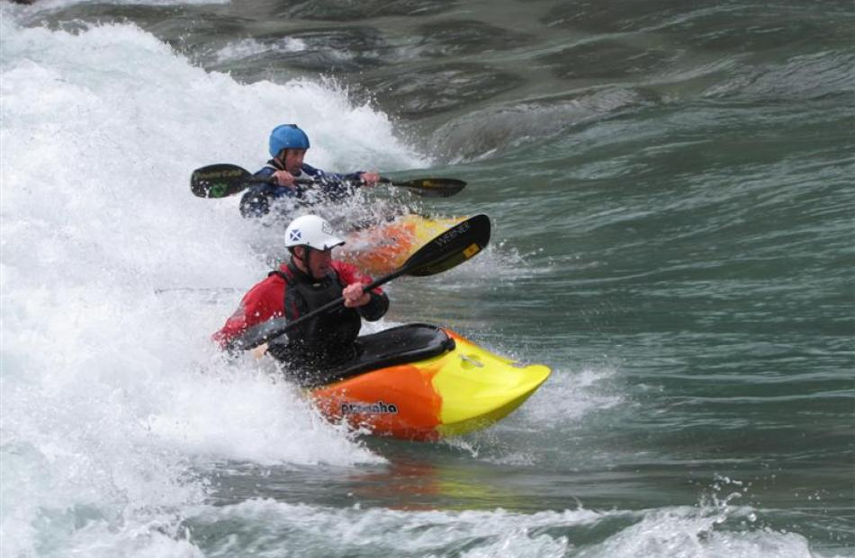 Kayaking enthusiasts Pete Simpson (front), of Lake Hawea, and Gordon Bailey, of Wanaka, test  the...