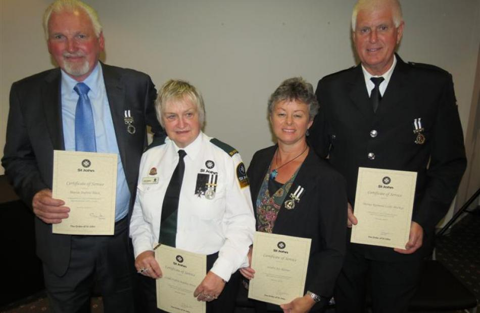 Marty Black, chairman of the St John Wakatipu area committee, 27 years' service; Linda Stephen,...