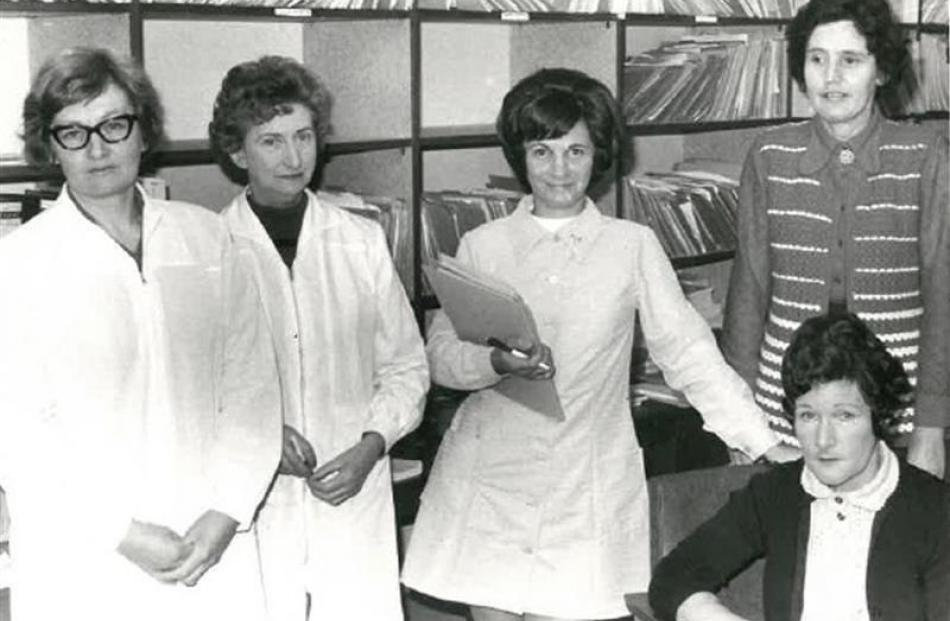 Reception staff (from left) Gaynor Grant, Mary Felton, Jean Duncan, Joan Hammer and Joan Murphy...