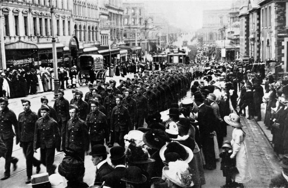 Senior cadets on parade in Princes Street, Dunedin. - Otago Witness, 19.2.1913. Copies of picture...