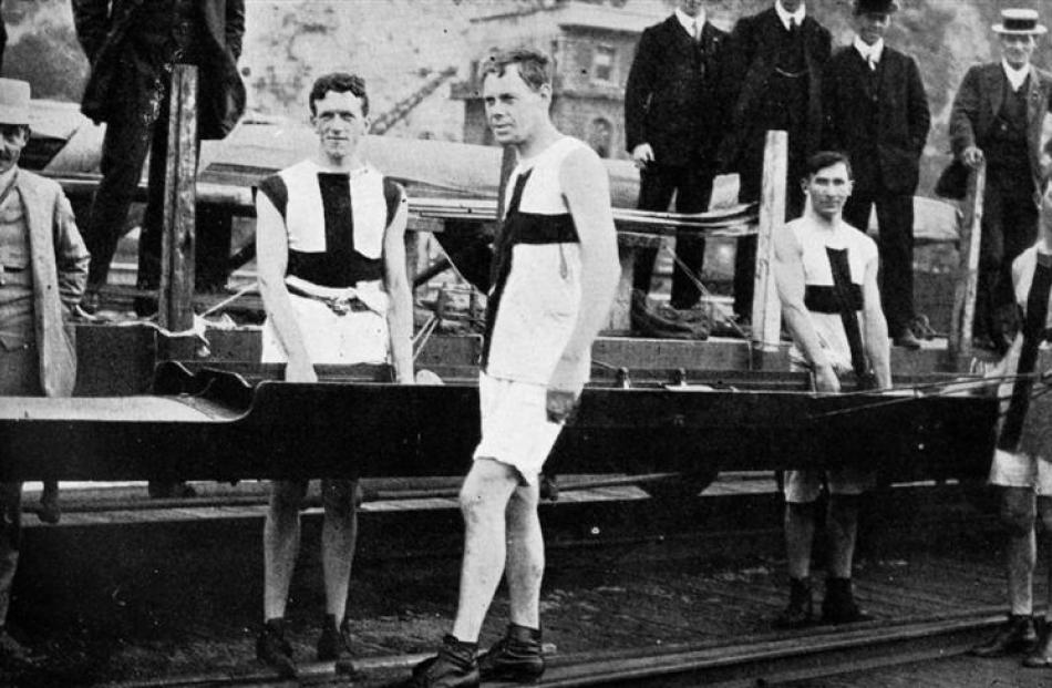 The Oamaru Boating Club's crew which won the junior fours at the Otago Rowing Association's...