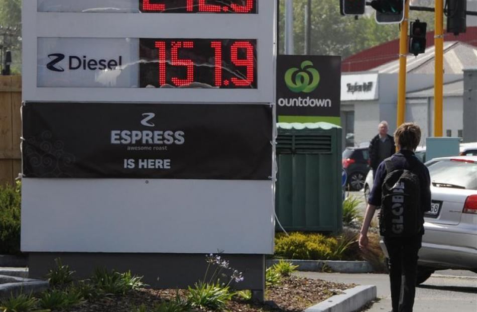 Z Energy petrol prices went up yesterday by 4c a litre. Photo by Craig Baxter.