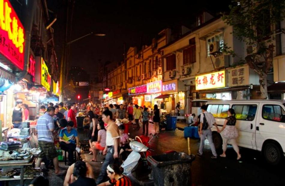 A busy night at one of Shanghai's seafood markets. Photos by Air New Zealand.