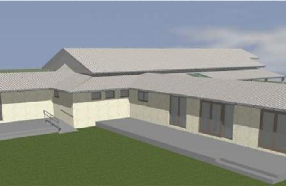 A computer-generated image of the Omarama Hall redevelopment. Image supplied.