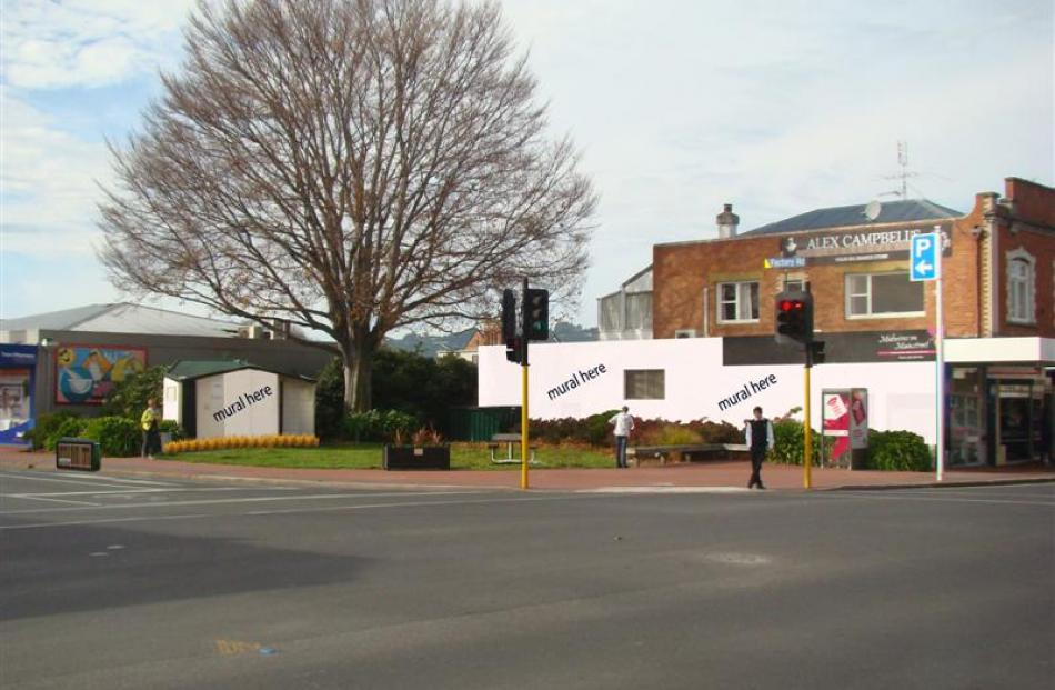 A concept plan for a makeover with murals on the corner of Gordon and Factory Rds in Mosgiel....