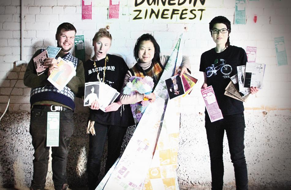 A few of the members of the collective organising the Dunedin Zinefest (from left) are Mark...