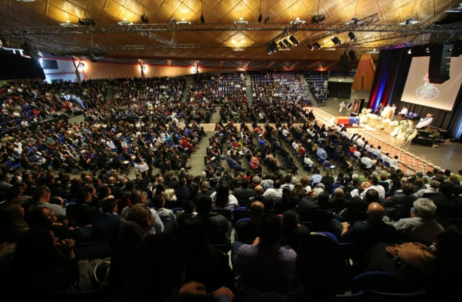 A full house of guests attend the funeral service for former Samoan rugby great Peter Fatialofa...