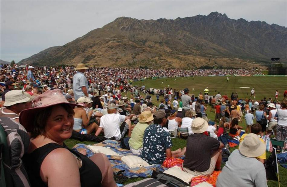 A large crowd enjoys the entertainment at a one day international between New Zealand and...