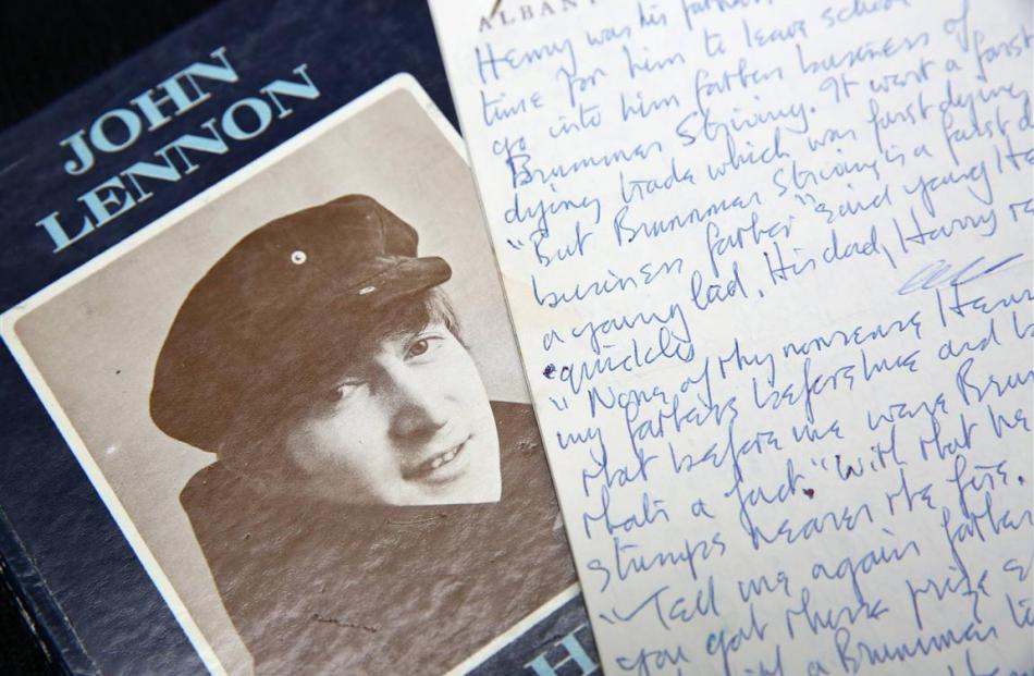 A manuscript written by John Lennon entitled 'Henry and Harry'. REUTERS/Paul Hackett