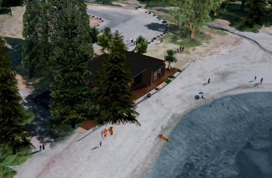 A possible site for the water sports facility on the Wanaka waterfront, including a computer...