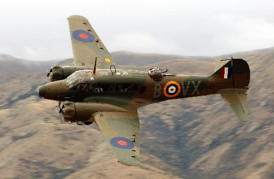 A rare Avro Anson makes a low pass during a practice flight above Wanaka yesterday. Photo by...
