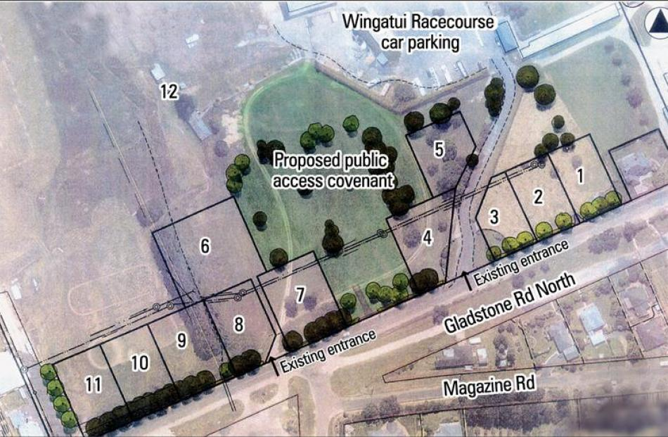 A revised plan for a possible subdivision on Wingatui Racecourse land, which attempts to reduce...