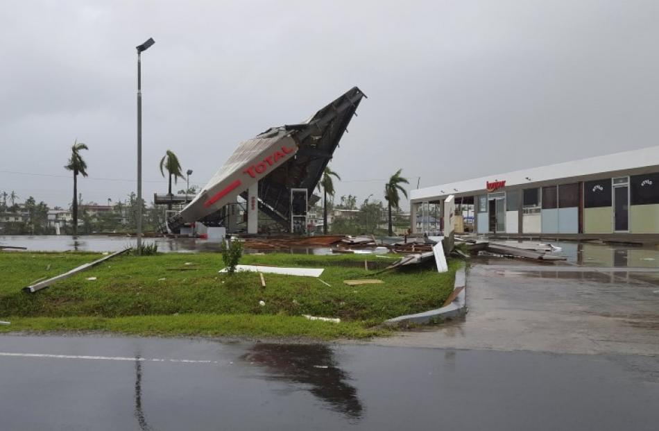 A service station that was destroyed when Cyclone Winston swept through the town of Ba on Fiji's...