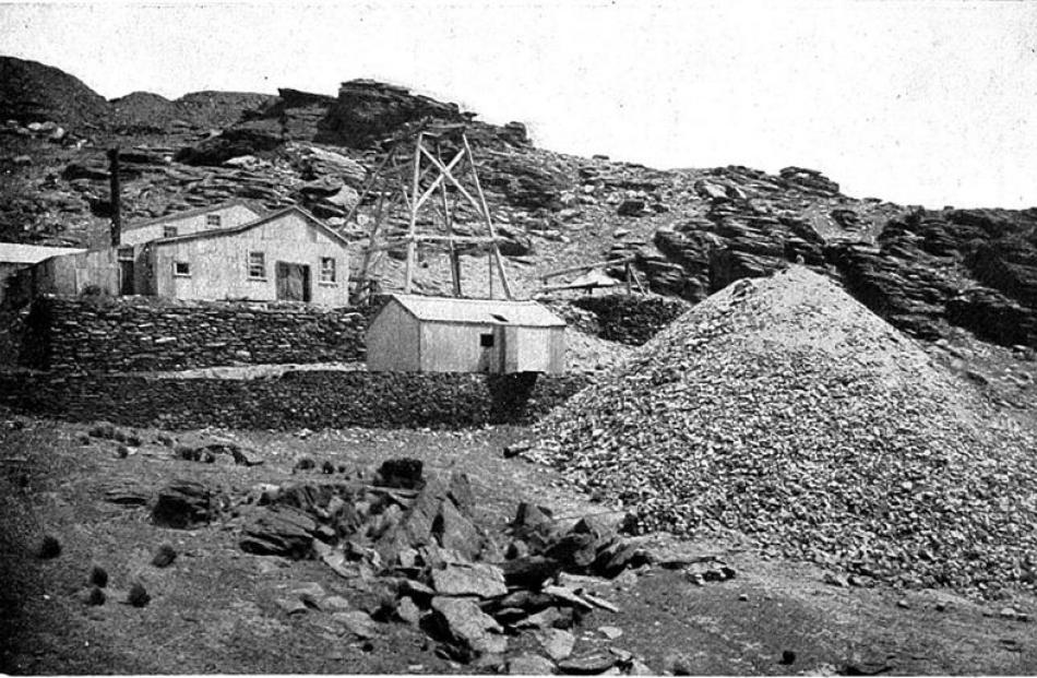 A view of the main engine house and shaft of the Bendigo mine in the late 19th century.  -Otago...