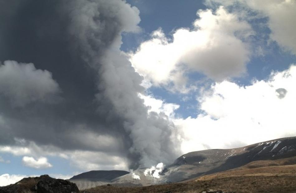 A view of Tongariro about 1.30pm, shortly after the eruption. Photo by Geonet.