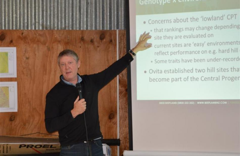 AbacusBio managing director Neville Jopson explains  the Central Progeny Test  at a Beef and Lamb...