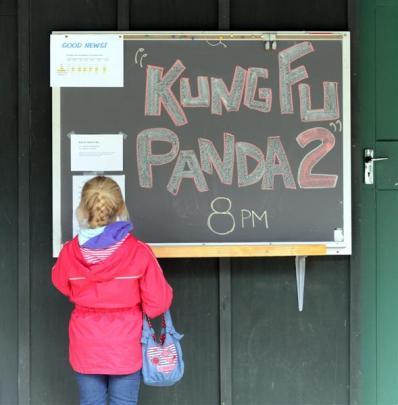 Abby Dowling (8), of Ashley, near Christchurch, checks out the noticeboard. Photo by Peter McIntosh.