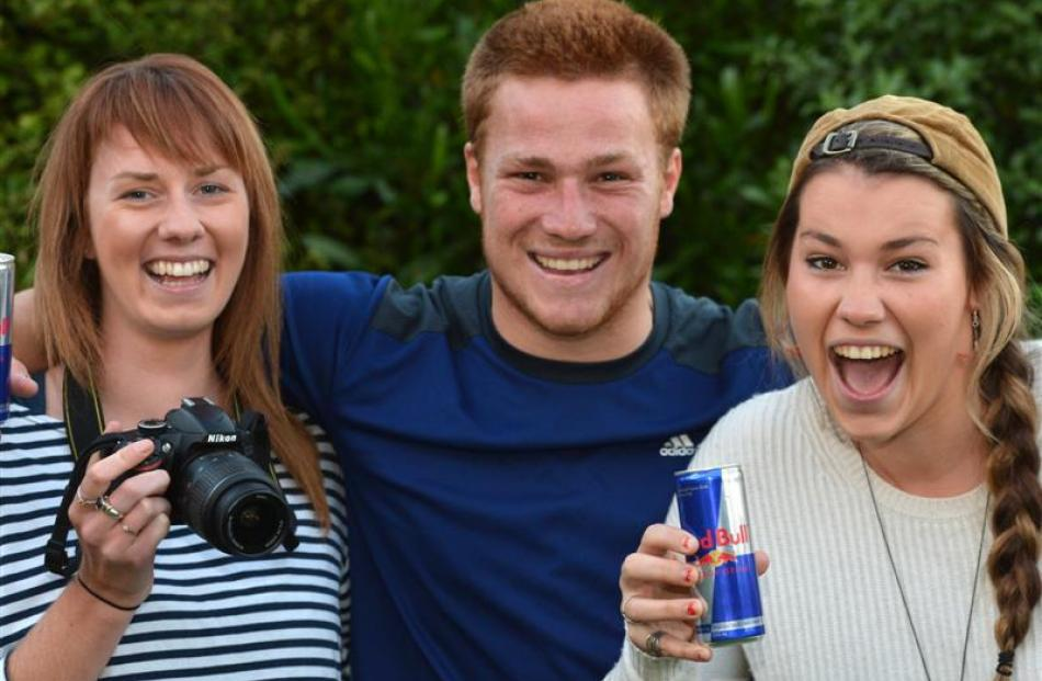 About to  take part in a competition to cross Europe  are Dunedin students (from left) Tish...