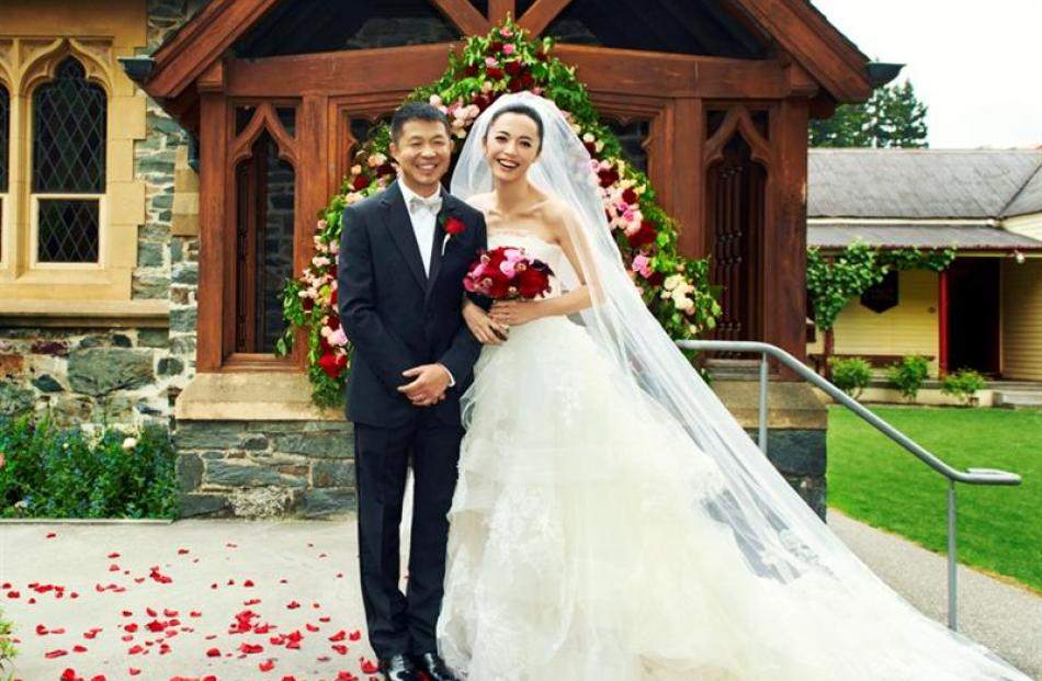 Actress and Tourism New Zealand's brand ambassador in China Yao Chen wed  Cao Yu in St Peter's...