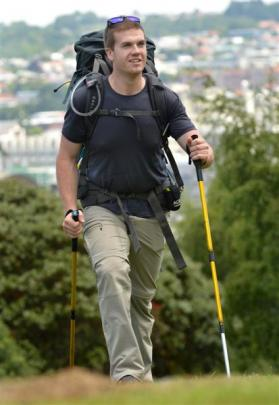 Adam Chambers prepares to walk New Zealand to raise money for the Fred Hollows Foundation. photo...