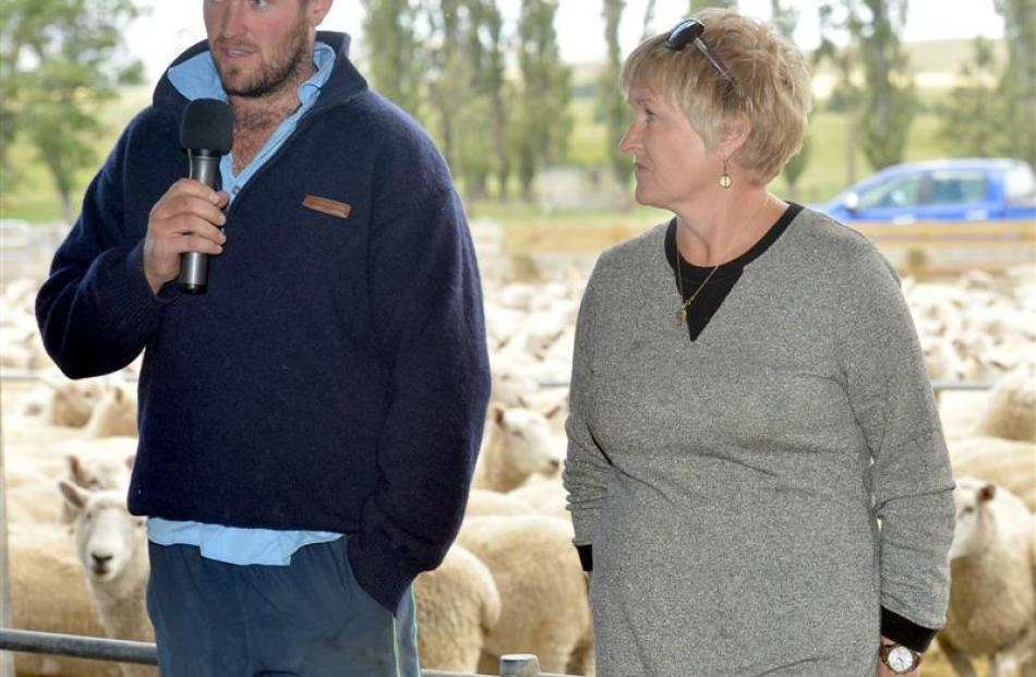 Adam Lindsay addresses a field day at his Maniototo farm last week, watched by his mother, Karen.