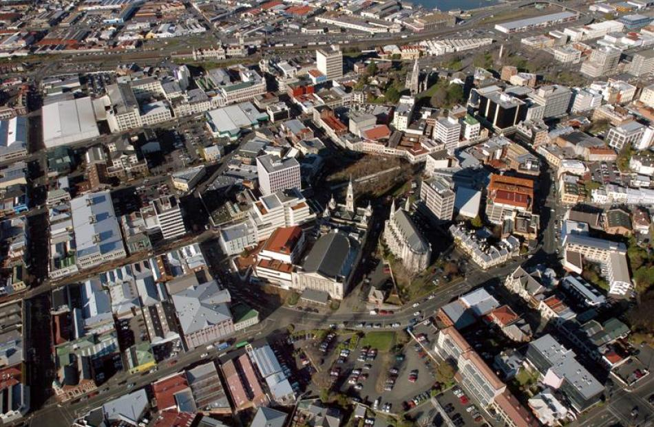 Aerial pic of Moray Place, including the area being considered for the new hotel. Photo by ODT.