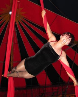 """Aerialist and slack rope artist Mary Weir, also known as """"Ruby Wilde"""", of Southern Highlands,..."""