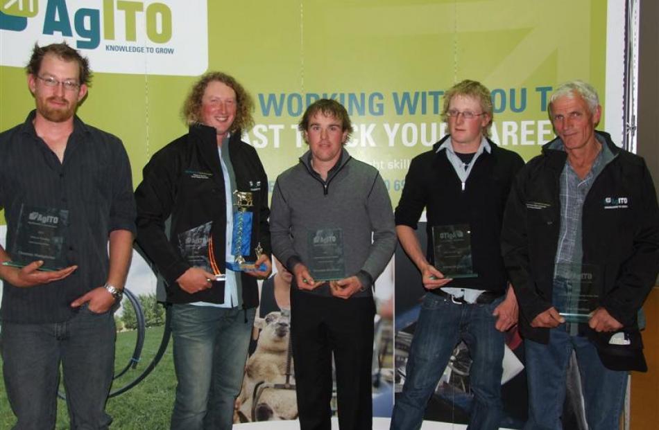 AgITO award winners Thomas Humphries (New to Farming), Shane Bichan (Outstanding Junior Trainee,...