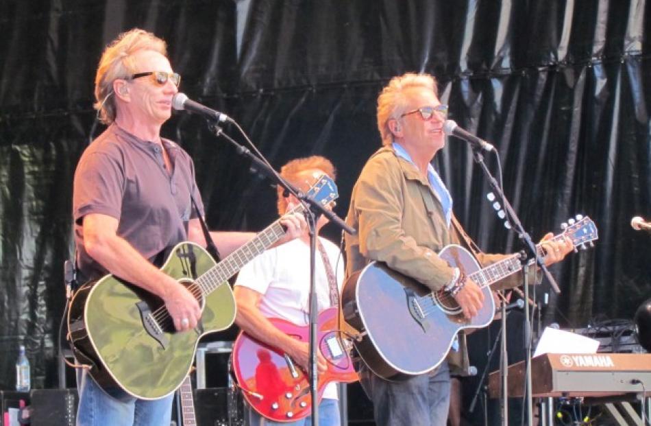 America entertain the crowd during the Gibbston Valley Summer Concert today. Photos Christina...
