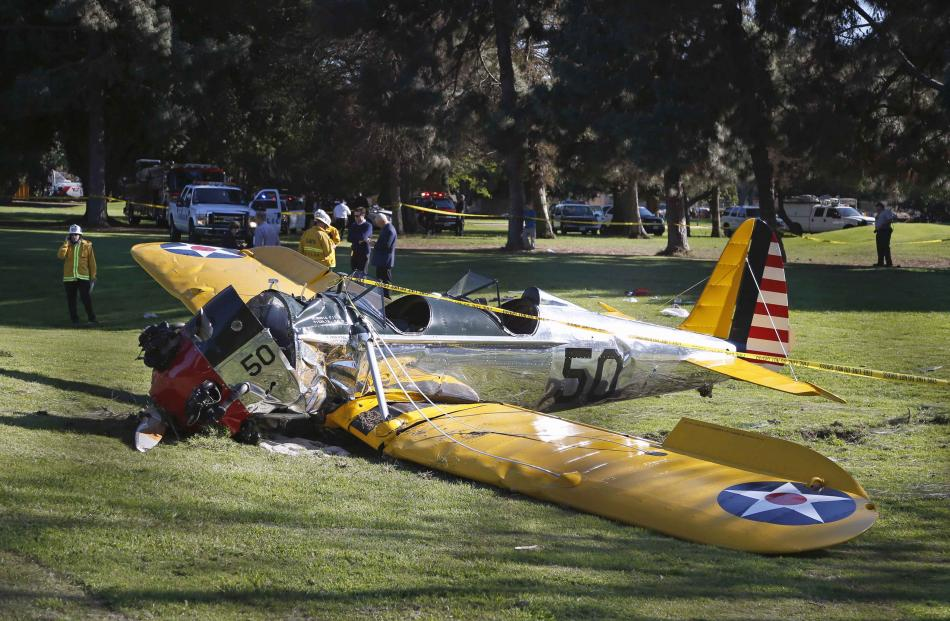 Harrison Ford's airplane sits after crash landing at Penmar Golf Course in Venice, California....