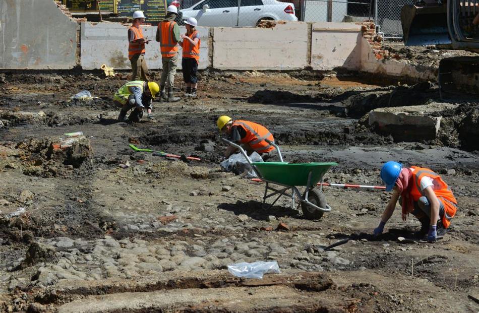 An archaeological team works on the Barningham Building site at the rear of the University of...