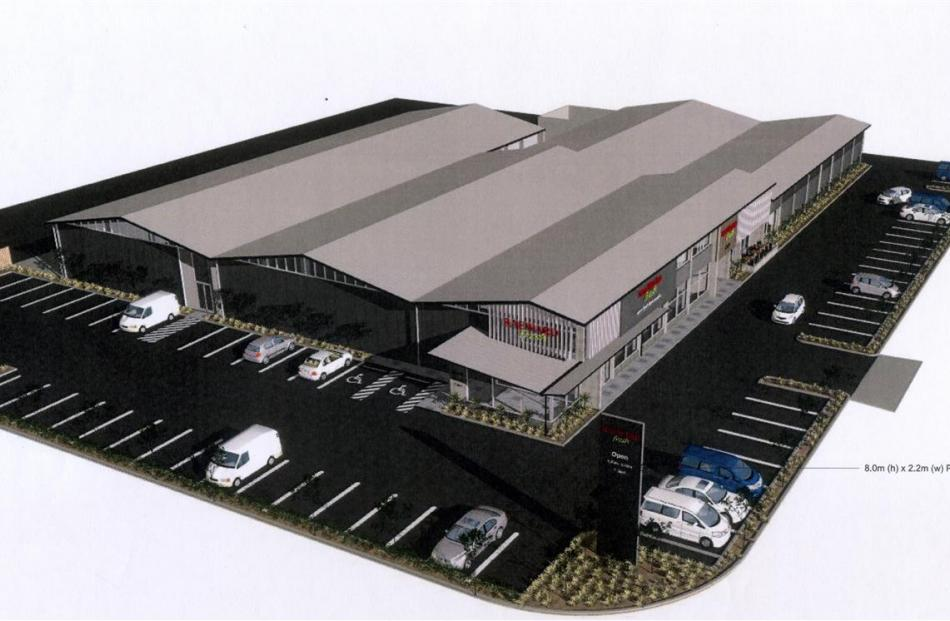 An artist's impression of the proposed Raeward Fresh store in South Dunedin. Image supplied.